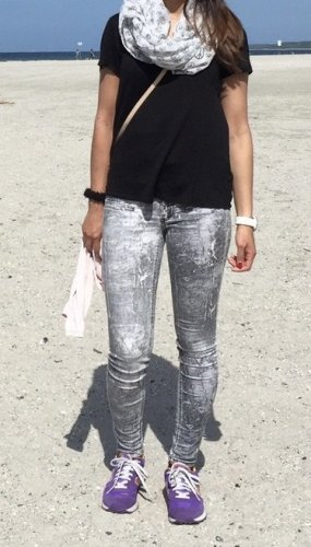 Modström Jeansy o obcisłym kroju biały-jasnoszary