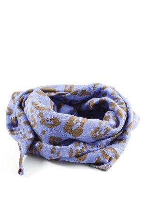Foulard bleu-brun motif léopard style décontracté