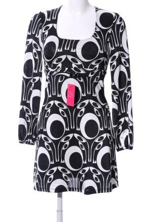 Mötivi Langarmkleid schwarz-weiß abstraktes Muster Casual-Look