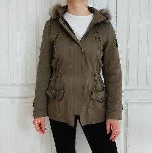Mötivi Motivi Parka Jacke Winterjacke Herbstjacke khaki kaki grün 36 S Mantel Trenchcoat