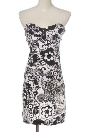 Mötivi schulterfreies Kleid weiß-schwarz Allover-Druck Casual-Look