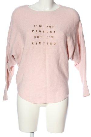 MOEWY Rundhalspullover pink-goldfarben Schriftzug gedruckt Casual-Look