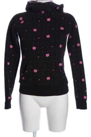 Mogul Felpa con cappuccio nero-rosa stampa integrale stile casual