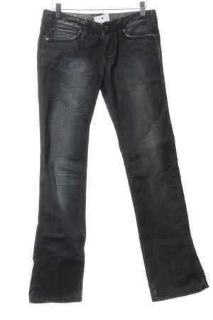 Mogul Straight-Leg Jeans dunkelblau Logo-Applikation aus Leder