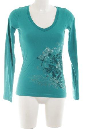 Mogul Sweatshirt türkis-silberfarben Motivdruck Casual-Look
