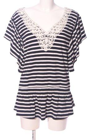 Mogul V-Ausschnitt-Shirt schwarz-weiß Streifenmuster Casual-Look