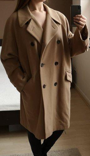 Mohair Schurwolle Trenchcoat Mantel XL L oversize vintage retro blogger Frühling Übergangsjacke beige sand camel caramel