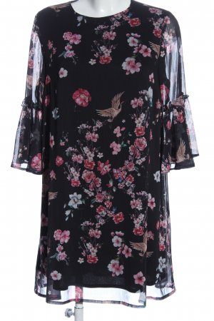 Mohito Chiffonkleid schwarz-pink Allover-Druck Casual-Look