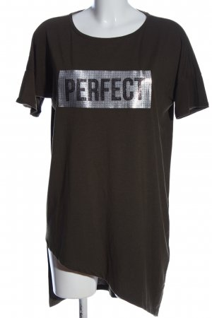 Mohito Shirt Tunic brown-silver-colored printed lettering casual look
