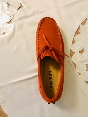 100% Fashion Mocassins oranje Suede