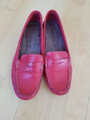 Mokassins Tamaris Gr. 39 echt Leder glatt rot sehr bequem