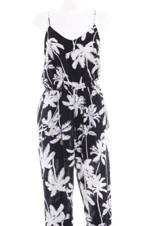 Molly bracken Jumpsuit schwarz-wollweiß florales Muster Beach-Look