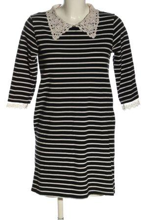 Molly bracken Langarmkleid schwarz-weiß Streifenmuster Casual-Look
