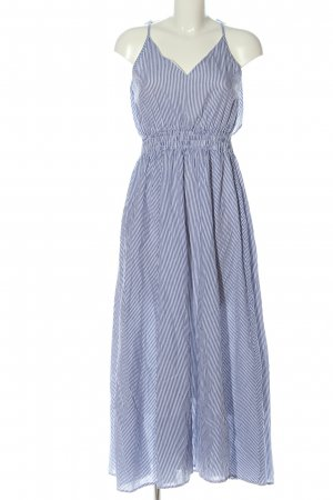 Molly bracken Maxi abito blu-bianco motivo a righe stile casual
