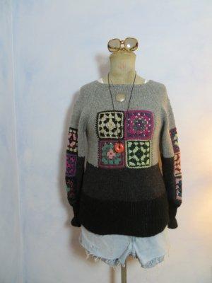 Molly´s Granny Knit Pullover Grau Schwarz - Größe 36 - Handgestrickter Grobstrick Pullover Häkelmuster