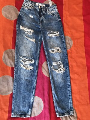 Bershka Pantalon taille basse bleu