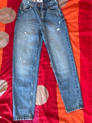 Bershka Pantalon taille haute bleu