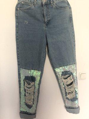 Topshop Jeans boyfriend bleu azur
