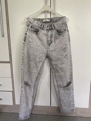Pull & Bear Boyfriend Trousers light grey-white