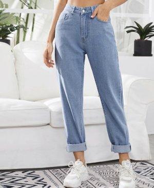 Jeansy z wysokim stanem błękitny