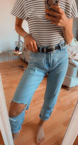 Mom Jeans Bershka 32 XS destroyed look schlitz
