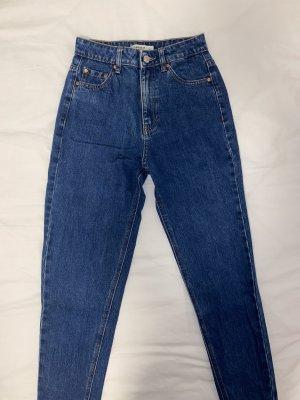 Pull & Bear Spodnie typu boyfriend niebieski