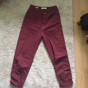 Pull & Bear Hoge taille jeans bordeaux