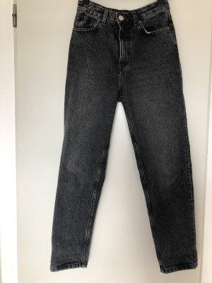 Mom-Jeans Grau high-waist