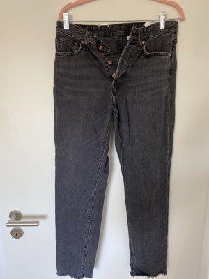 Mom Jeans grau schwarz