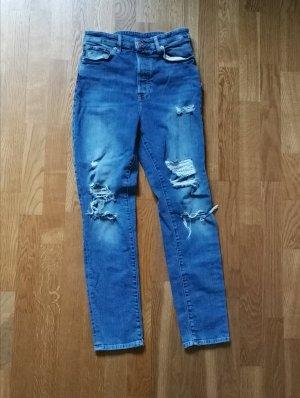 & DENIM Spodnie z wysokim stanem szary niebieski