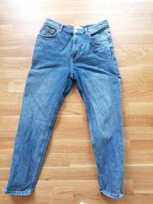 Mango Jeansy z wysokim stanem niebieski