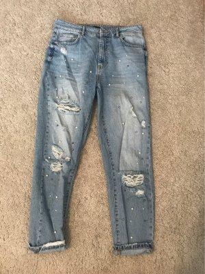 Bershka Jeans boyfriend bleu-blanc