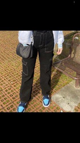 Sheinside Baggy Pants black-white