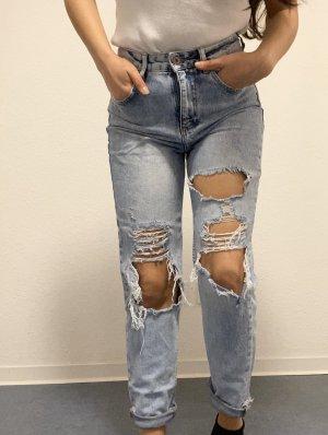 Mom Jeans Verwaschen Destroyed