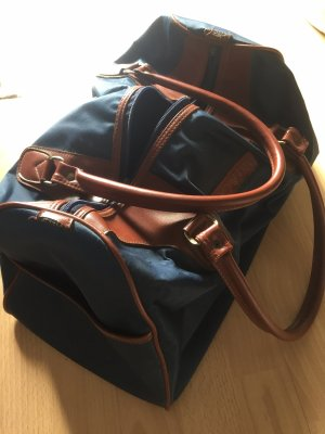 Mini sac cognac-bleu foncé
