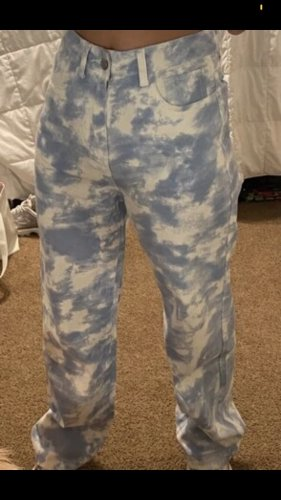 Sheinside Baggy Pants light blue-white