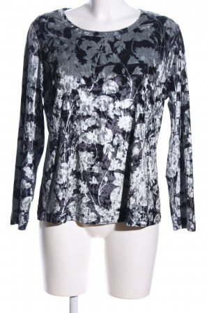 Mona Long Shirt black-light grey flower pattern glittery