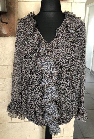 Monari, Bluse, mit Volants, animalprint/ Leopardenmuster, schwarz/grau/braun, Gr. 44