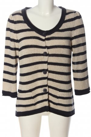 Monari Cardigan creme-schwarz Streifenmuster Casual-Look