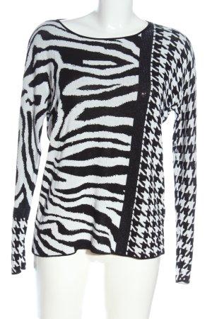 Monari Fine Knit Jumper white-black allover print casual look