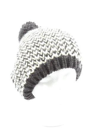 Monari Cappello all'uncinetto nero-bianco stampa integrale stile casual