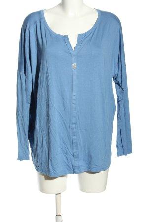 Monari Langarm-Bluse blau Casual-Look