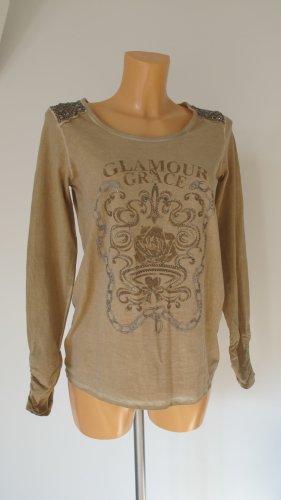 MONARI Langarm-Shirt Gr. 36/38 mit aufwendigen Perlenstickereien, Straßsteinen und Nieten