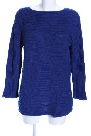 Monari Crewneck Sweater blue striped pattern casual look