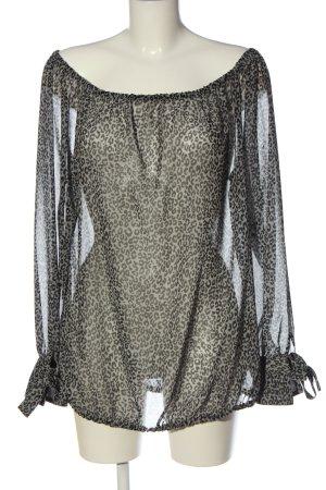 Monari Schlupf-Bluse weiß-schwarz Leomuster Casual-Look