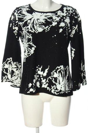Monari Maglione lavorato a maglia nero-bianco motivo astratto stile casual