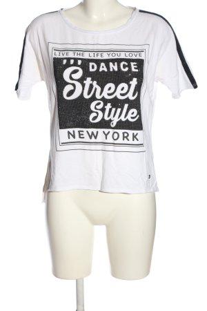 Monari Strickshirt weiß-schwarz Schriftzug gedruckt Casual-Look