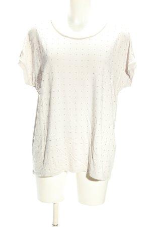 Monari T-Shirt weiß-braun Punktemuster Casual-Look