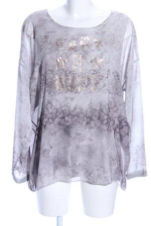 Monari Transparante blouse lichtgrijs luipaardprint casual uitstraling