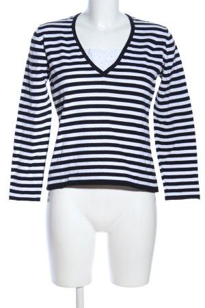 Monari V-Ausschnitt-Pullover schwarz-weiß Streifenmuster Casual-Look